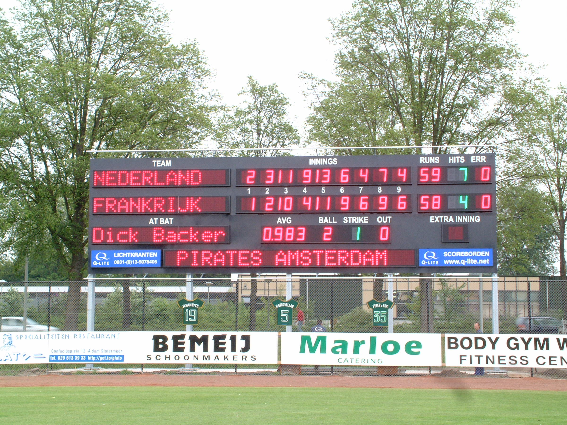 Baseball scorebord Pirates Amsterdam