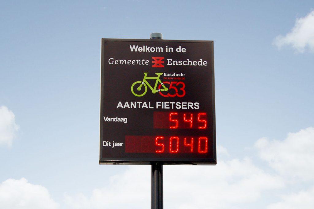 Fietsteldisplay Gemeente Enschede
